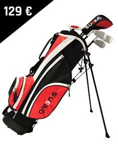 Green's - Kit enfant 6-8 ans ! Les fers sont adaptés à la taille des enfants et à leur swing. Le kit contient : - 5 compartiments - 5 clubs (Bois 3, F7, F9, SW et un putter)  - Un sac trépied avec double sangle - 5 poches - Porte-parapluie - Une capuche pluie Golf Bags, Club, Sports, Pockets, Children, Human Height, Bag, Hs Sports, Sport