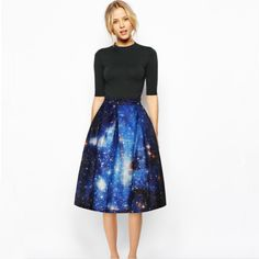 Mori Girl Clothing Skirt on Mori Girl の森ガール.Mori Fashion Painting Pleated Skirt Starry Night Midskirt Mg247 know you best than yourself !