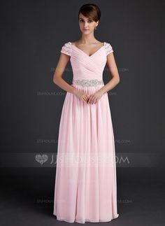 Mother of the Bride Dresses - $138.99 - A-Line/Princess V-neck Floor-Length Chiffon Mother of the Bride Dress With Ruffle Beading (008015624) http://jjshouse.com/A-Line-Princess-V-Neck-Floor-Length-Chiffon-Mother-Of-The-Bride-Dress-With-Ruffle-Beading-008015624-g15624?pos=your_recent_history_1