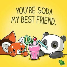 I love my bestie cherry much. Tag your besties! Cute Animal Drawings, Kawaii Drawings, Cute Drawings, Anime Animals, Cute Animals, Panda Drawing, Cute Animal Quotes, National Best Friend Day, Besties