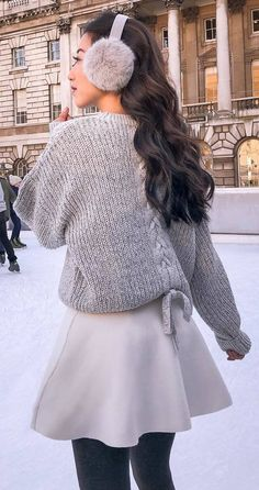 #winter #outfits grey long sweater, white skirt, grey leggings