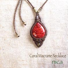 天然石とマクラメアクセサリーのお店 nica マクラメネックレス コーラル天然石とマクラメアクセサリーのお店nica