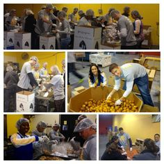 Klay Thompson, the #WarriorGirls & #Warriors staff join Esurance at the San Francisco Food Bank for a day of service. #WeGIVE #NBAGiveBIG #GSW