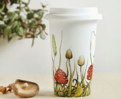 White Ceramic Travel Mug Double Walled Porcelain with Lid  - Shrooms and Grass Collection