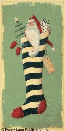 Stocking Surprise ~ Fine-Art Print - Christmas Art Prints and Posters - Christmas Pictures Christmas Pictures, Christmas Themes, Vintage Christmas, Christmas Stockings, Christmas Holidays, Christmas Decorations, Santa Paintings, Christmas Paintings, Santa Stocking