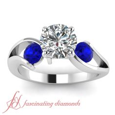 Round Cut Diamond Three Stone Engagement Ring In Tension Setting