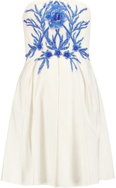 Marchesa Notte Embellished cotton and silk-blend faille mini dress