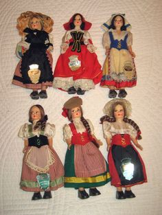 """San Remo, Genova, Aosta Lot of 6 Treasures of Italy Dolls 6"""" Molded Painted Faces Regional Costumes Tags"""