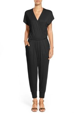 I would live in this romper if I could -- Petite Women's Loveappella Short Sleeve Wrap Top Jumpsuit