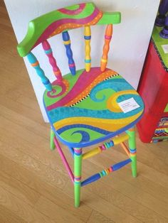 Hand Painted Chairs, Whimsical Painted Furniture, Hand Painted Furniture, Funky Furniture, Paint Furniture, Furniture Projects, Kids Furniture, Furniture Makeover, Diy Projects