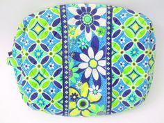 Vera Bradley Makeup Bag Daisy Daisy Disc. 2009 Blue Green White Flowers  #VeraBradley