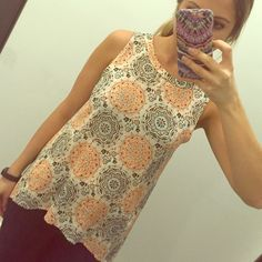 Bohemian Print Sleeveless Top Monteau Los Angeles brand new without tags size small sleeveless printed (Orange, blue, black, cream) top. Small keyhole in the back. 100% rayon. No trades! Monteau Tops Tank Tops