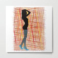 Silhouette ladies in striped stockings Metal Print by vladimirceresnak Striped Stockings, Aluminium Sheet, Metal Art, High Gloss, Vibrant Colors, Hanger, Wire, Symbols, Silhouette