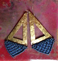 Cut-Out Blue Fiber and Brass Macrame Earrings