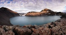 The Hnausapollur Bláhylur lake in a deep, volcanic crater. Fjallabak Nature Reserve, Iceland