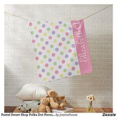 Pastel Sweet Shop Polka Dot Personalized Stroller Blankets