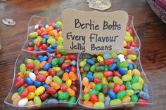 Harry Potter Baby Shower Jelly Bean Flavors, Harry Potter Baby Shower, Jelly Beans, Sprinkles, Candy, Breakfast, Food, Red Dates, Morning Coffee