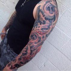Brandon Schultheis did this crazy biomech/organic sleeve. #inked #inkedmag #tattoo #biomech #organic #sleeve #idea