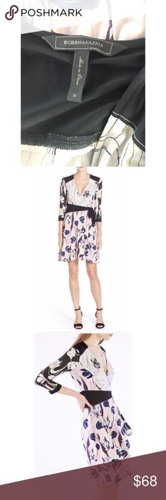 """Floral wrap dress 💕BCBG Maxazria """"Adele"""" Floral wrap dress """"Adele"""" by BCBGMaxazria Classic wrap style Deep V-neck Quarter sleeves Black panels separate 3 floral/tulip prints *see final few photos for close look at the prints* Black- cream- blush-blue-deep purple  Polyester/spandex blend— unlined  Size medium -37'' in length  Previously worn but in great condition. No signs of wear 🌟🌟 BCBGMaxAzria Dresses Midi"""