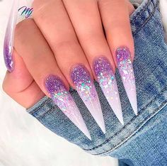 30 The Sex Appeal Stiletto Nails Art Designs For You - Nail Art Connect Stiletto Nails Glitter, Sparkle Nails, Gel Nails, Holographic Nails, Unicorn Nails Designs, Unicorn Nail Art, Dope Nails, Swag Nails, Gorgeous Nails