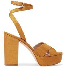 Sam Edelman Mara dupion platform sandals (425 BRL) ❤ liked on Polyvore featuring shoes, sandals, heels, gold strappy sandals, gold strap sandals, heeled sandals, platform heel sandals and sam edelman sandals