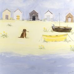 Dog Stick Card at Whistlefish - handpicked contemporary & traditional art that is high quality & affordable. Available online & in store Dogs On Boats, Sea Illustration, Seaside Art, Boat Art, Tropical Art, Naive Art, Art For Art Sake, Watercolor Animals, Affordable Art