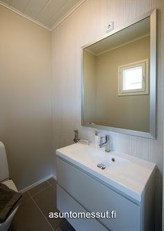 Muurametalot Kanerva V-96 - Asuntomessut Bathroom Lighting, Mirror, Frame, Furniture, Home Decor, Bathroom Light Fittings, Picture Frame, Bathroom Vanity Lighting, Decoration Home