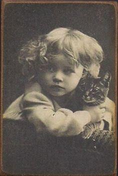 Wood Magnet -Little Girl -Cat- Vintage Style 1800s Photo Print  via Etsy.