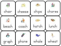 printable phonics lotto game consonant digraphs sh ch th wh wr ph sounds words cards Ph Sound Words, Ch Sound, Consonant Digraphs, Consonant Blends, Teaching Phonics, Teaching Activities, Lotto Games, 2nd Grade Math, Third Grade