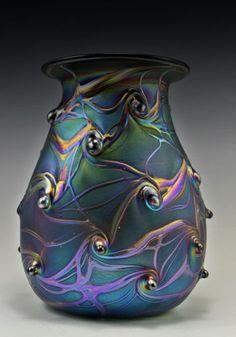 Bohemian Art Deco Glass Vase Iridescent Glass