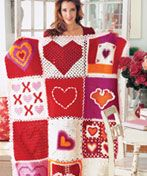Heart Squares Afghan - Free crochet pattern from Coats and Clark.