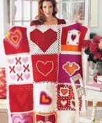 Favorites Heart Squares Afghan free pattern