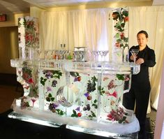Check out the ice luges, bars, & other ice sculptures from ice sculpture artist Don Chapelle in Boston, MA. Ice Sculpture Wedding, Ice Images, Ice Luge, Deco Buffet, Sorbet, Flower Decorations, Table Decorations, Ice Bars, Ice Sculptures
