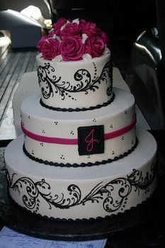 Wedding, Cake, White, Purple, Black