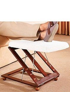Adjustable Wooden Footstool Ottoman Furniture Foot Rest Home Soft Fleecy Cover