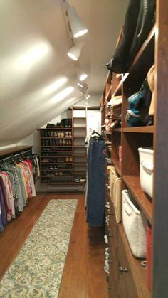 Closet City turned this attic with angled ceilings and short knee wall into a fa. - Closet City turned this attic with angled ceilings and short knee wall into a fantastic walk-in clo - Custom Closet Design, Closet Designs, Attic Bathroom, Attic Rooms, Attic House, Attic Apartment, Attic Bedroom Ideas Angled Ceilings, Attic Floor, Attic Stairs