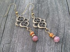 Desires - Knot Dangle Earrings with Fancy Jasper and Tigers Eye by Angelof2, $18.00