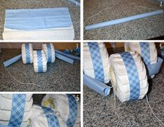 How To Do A Tricycle Diaper Cake | Next I fed the other blanket through the front tire.