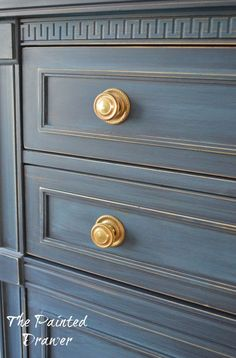 Dresser painted with milk paint in Coastal Blue. Amazing paint finish. The Painted Drawer.