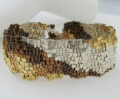 Corrugated Mixed Metals Color Ribbon Peyote Cuff by SandFibers, $49.00
