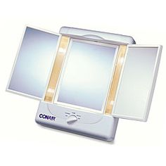 @Overstock.com - This Conair Illumina Collection 3-panel makeup mirror is two-sided and features 1X/5X magnification. Simulate the lighting of the day, evening, office or home with this mirror. http://www.overstock.com/Health-Beauty/Conair-Illumina-Collection-1x-5x-Lighted-3-panel-Make-up-Mirror/4697898/product.html?CID=214117 $47.90