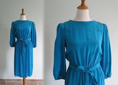 Vintage 1980s Dress  Tiny Floral Aqua Silk by BadChollaVintage