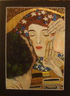 Particolare del Bacio di Klimt dipinto su ardesia