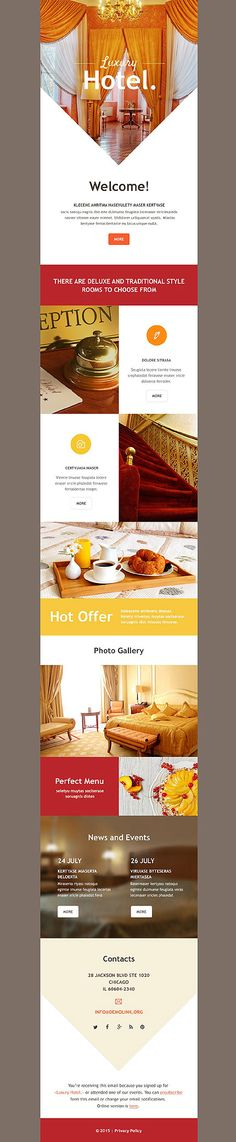 Template 54740 - Hotel Exouisite  Responsive Newsletter Template