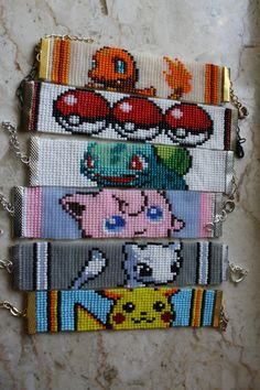 Items similar to Pokemon bracelet Pikachu Jigglypuff Charmander Mew Bulbasaur Geek Nerdy cartoon- made to order- choose 1 on Etsy Loom Bracelet Patterns, Seed Bead Patterns, Bead Loom Bracelets, Peyote Patterns, Friendship Bracelet Patterns, Beading Patterns, Cross Stitch Patterns, Jewelry Patterns, Pikachu
