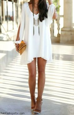 Bohemian chic white summer dress