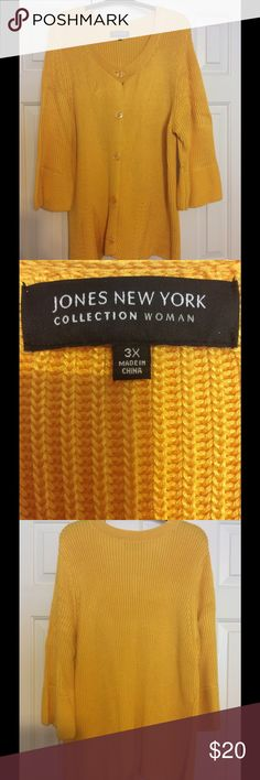 Jones New York Collection Woman Sweater Jones New York sweater with half sleeves and round collar with button down front and design on front at bottom and wide bottom on sleeve 62% cotton and 38% viscose it has a few snags in it but nothing major Jones New York Collection Sweaters Cardigans