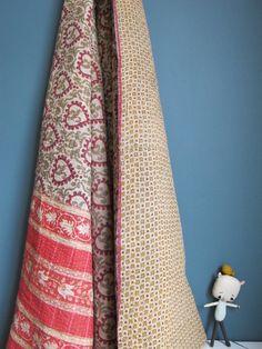 Vintage plaid indien vieux rose et beige , €90.00 by LES PETITS BOHEMES