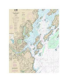 Portland Harbor, Maine Nautical Chart Sailcloth Print