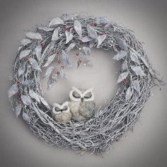 needle felted owl wreath - winter owl wreath - silver winter wreath - by TheLadyMoth